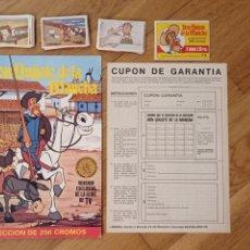 Coleccionismo Álbumes: 1979 BRUGUERA COLECCION CASI COMPLETA CROMOS SIN PEGAR Y ALBUM VACIO PLANCHA DON QUIJOTE D LA MANCHA. Lote 285288493