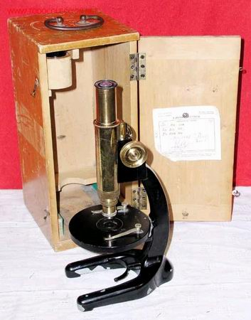 MICROSCOPIO ANTIGUO DE BRONCE (Antigüedades - Técnicas - Instrumentos Ópticos - Microscopios Antiguos)
