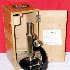 Antigüedades: MICROSCOPIO ANTIGUO DE BRONCE. Lote 12085040