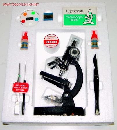 MICROSCOPIO CON ACCESORIOS A ESTRENAR DE 300 AUMENTOS. (Antigüedades - Técnicas - Instrumentos Ópticos - Microscopios Antiguos)