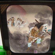 Antigüedades: ANTIGUO CRISTAL PARA LINTERNA MAGICA CON DIBUJOS PINTADOS A MANO - MEDIDAS : 8'2 CM X 8'2 CM. Lote 26328910
