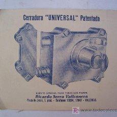 Antigüedades: PEQUEÑO CARTEL PUBLICITARIO DE CERRADURA ´ UNIVERSAL ´ PATENTADA, VALENCIA (11X14CM APROX.). Lote 20441159