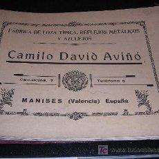 Antigüedades: FABRICA DE LOZA TIPICA, REFLEJOS METALICOS Y AZULEJOS CAMILO DAVID AVIÑO, MANISES ( VALENCIA ) . Lote 20346924