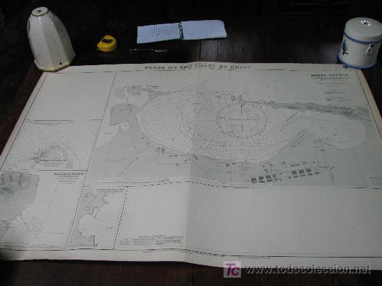ANTIGUA CARTA DE NAVEGACION DE LAS COSTAS DE EGIPTO (Antigüedades - Antigüedades Técnicas - Marinas y Navales)