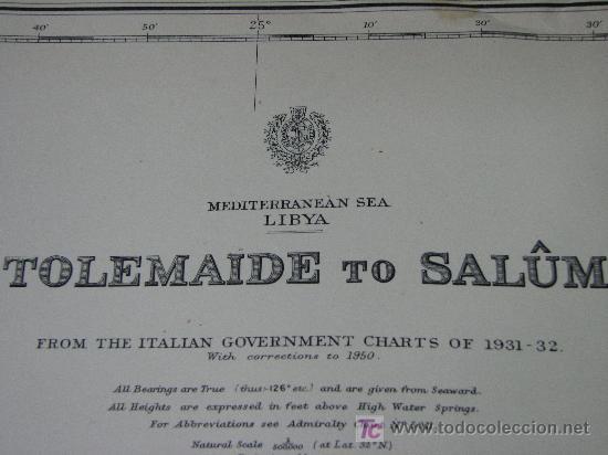 Antigüedades: Antigua carta de navegacion de las costas de Lybia - Foto 2 - 27358612
