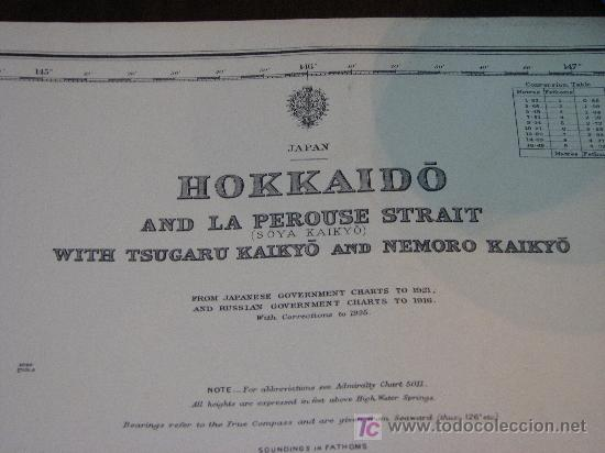 Antigüedades: Antigua carta de navegacion de Hokaido. Japon - Foto 2 - 26447203
