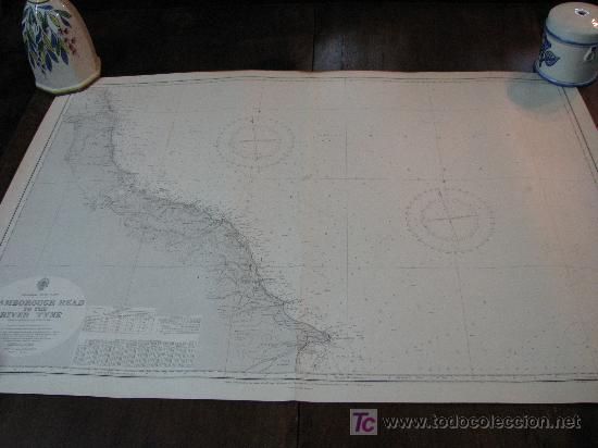 ANTIGUA CARTA DE NAVEGACION DE FLAMBOROUGH. INGLATERRA (Antigüedades - Antigüedades Técnicas - Marinas y Navales)