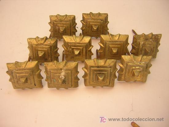 DIEZ FANTASTICOS CLAVOS DE BRONCE PARA PUERTA SIGLO XIX, 5,5 X 5,5CM (Antigüedades - Técnicas - Cerrajería y Forja - Clavos Antiguos)