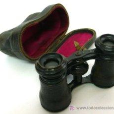 Antigüedades: PRISMÁTICOS DE ÓPERA EN METAL NEGRO CON FUNDA DE CUERO - S. XIX. Lote 26651970