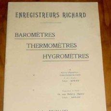 Antigüedades: ANTIGUO CATALOGO DE BAROMETROS, TERMOMETROS Y HIGOMETROS - 1918 APROXIMADAMENTE - BAROMETRES, THERMO. Lote 25616451