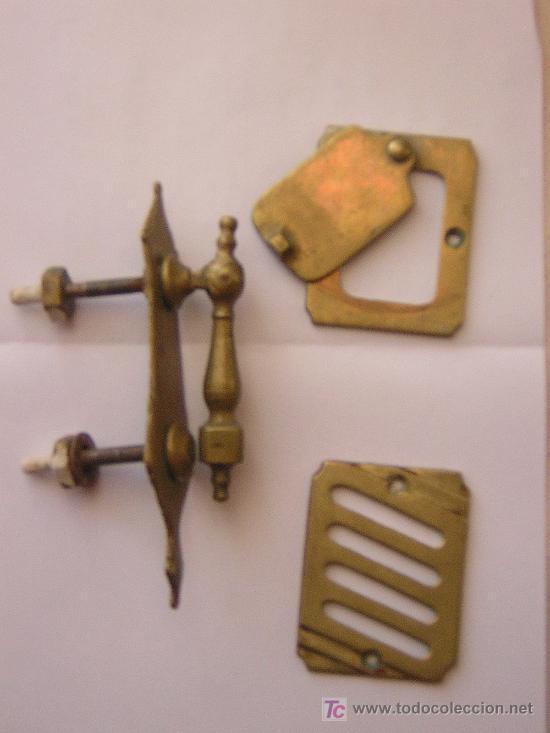 PEQUEÑA ALDABA Y MIRILLA DE PUERTA TODO COMPLETO (Antigüedades - Técnicas - Cerrajería y Forja - Aldabas Antiguas)