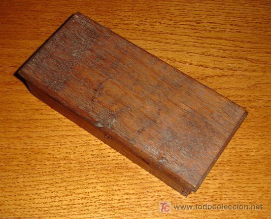 Antigüedades: Antiguo juego de pesas con estuche de madera y balanza S.XIX - Foto 6 - 27155925