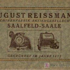 Antigüedades: AUGUST REISSMANN MASCHINENFABRIK AKTIENGESELLSCHAFT. SAALFELD SAALE. 1872-1922. 1922. 15X23CM.20 P.. Lote 29740356