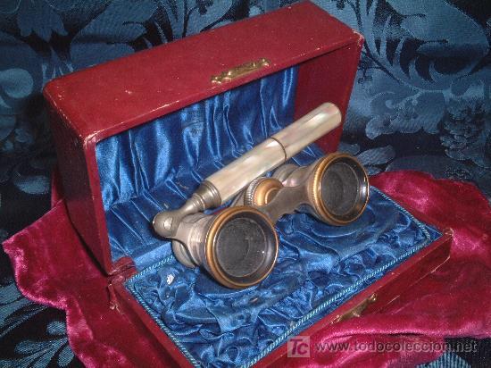 IMPERTINENTES DE TEATRO , METAL NIQUELADO CON PLAQUITAS DE NACAR, FF.SG.XIX. 10 X 5 CM. MANGO 12CM. (Antigüedades - Técnicas - Otros Instrumentos Ópticos Antiguos)