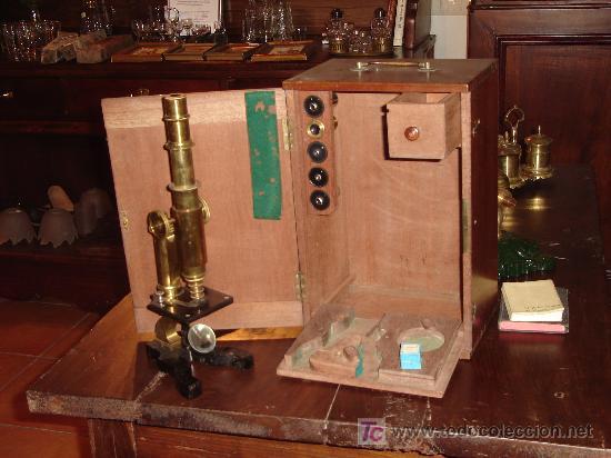 Antigüedades: Antigüo Microscopio alemán con caja - Foto 3 - 26628666