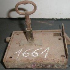 Antigüedades: CERRADURA CON LLAVE, 14 CMS. Lote 8362346