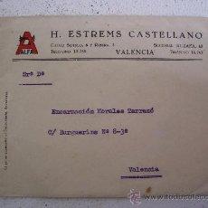 Antigüedades: SOBRE CON EMBLEMA DE MAQUINA DE COSER ALFA, H.ESTREMS CASTELLANO, VALENCIA. Lote 26017969