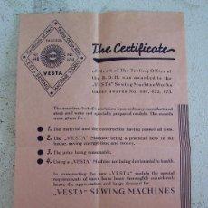 Antigüedades: CERTIFICADO DE MERITO PARA LA FABRICA DE MAQUINAS DE COSER VESTA ´ VESTA SEWING MACHINE WORKS ´. Lote 26935967