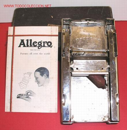 MAQUINA DE AFILAR CUCHILLAS 'ALLEGRO' (Antigüedades - Técnicas - Barbería - Maquinillas Antiguas)