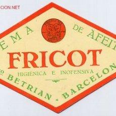 Antigüedades: ETIQUETA CREMA DE AFEITAR FRICOT ORIGINAL, BARCELONA . Lote 2831475