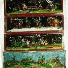 Antigüedades: 4 CRISTALES FOTOGRAMAS LINTERNA MÁGICA, 21 X 6 CM.. Lote 27614774