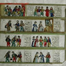 Antigüedades: SÉRIE DE 4 CRISTALES LINTERNA MÁGICA S XIX. MED. 19 X 4 CM.. Lote 27088184
