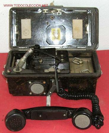 TELEFONO DE CAMPAÑA DE BAQUELITA (Antigüedades - Técnicas - Teléfonos Antiguos)