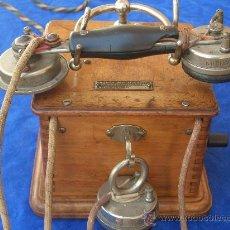Teléfonos: TELEFONO DE MANIVELA CAJA MADERA AÑO 1914 CON AUDIFONO / AURICULAR SUPLETORIO. Lote 18607366