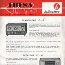 Antigüedades: IBISA HOJA DE PROPAGANDA TRANSMISOR HT-40 RECEPTOR SX-140, SX-115 Y TRANSCEPTOR HALLICRAFTERS SR-150. Lote 26454607