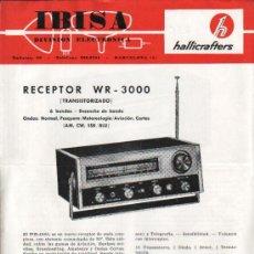 Antigüedades: IBISA APARATOS ELCTRONICOS HALLICRAFTERS. HOJA DE PROPAGANDA RECEPTOR WR-3000 Y RECEPTOR WR-2500. Lote 26454593
