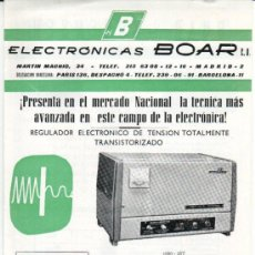 Antigüedades: HOJA DE PROPAGANDA ELECTRONICAS BOAR APARATOS ELECTRONICOS. Lote 10845187