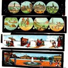 Antigüedades: CUATRO PLACAS DE CRISTAL DE LINTERNA MAGICA. Lote 113649467