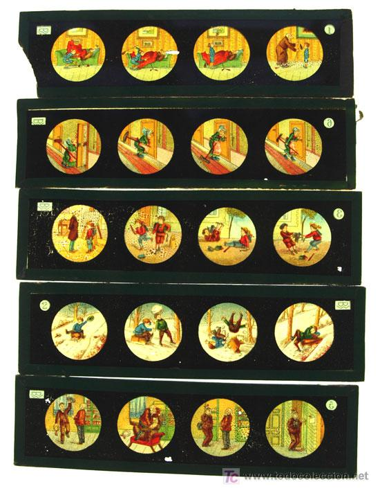 CINCO PLACAS DE CRISTAL DE LINTERNA MAGICA (Antigüedades - Técnicas - Aparatos de Cine Antiguo - Linternas Mágicas Antiguas)