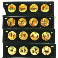 Antigüedades: CINCO PLACAS DE CRISTAL DE LINTERNA MAGICA. Lote 11713823