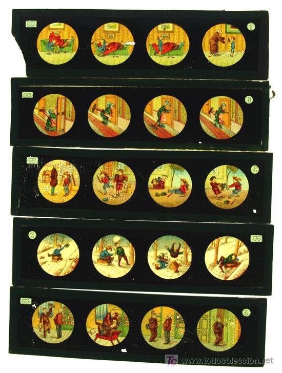 Antigüedades: CINCO PLACAS DE CRISTAL DE LINTERNA MAGICA - Foto 2 - 11713823