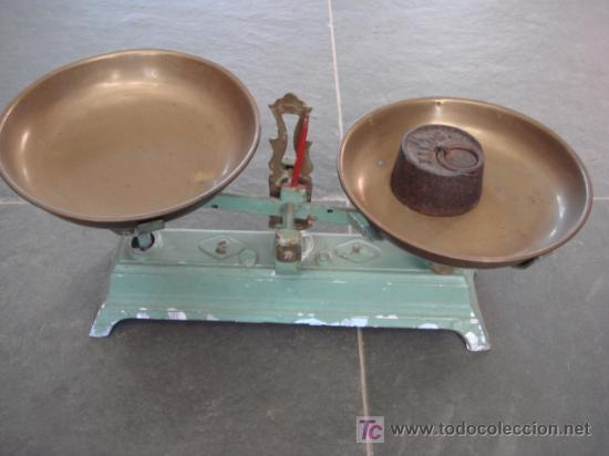 BASCULA ANTIGUA CON PLATILLOS (Antigüedades - Técnicas - Medidas de Peso - Básculas Antiguas)