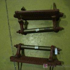 Antigüedades: PAREJA MANILLAS HIERRO Y METAL. Lote 25991290