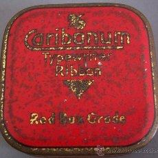 Antigüedades: CAJITA METALICA CARIBONUM PARA CINTA DE MAQUINA DE ESCRIBIR UNDERWOOD (6X6CM APROX). Lote 26038308