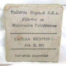 Teléfonos: CAPSULA RECEPTORA RECEPTOR PARA TELEFONO EN SU CAJA ENTEL 1961 INDUSTRIA ARGENTINA ENVIO GRATIS. Lote 26755819