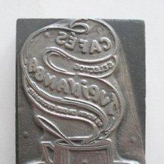 Antigüedades: MATRIZ ESTAMPACIÓN ETIQUETAS CAFES TUPINANBA, MED. 10 X 7 CM. Lote 27300213