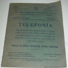 Teléfonos: ANTIGUO Y EXCEPCIONAL DE CATALOGO DE TELEFONIA, TELEFONOS . DE LA GENERAL ELECTRIC DE ESPAÑA, PRINCI. Lote 26656506