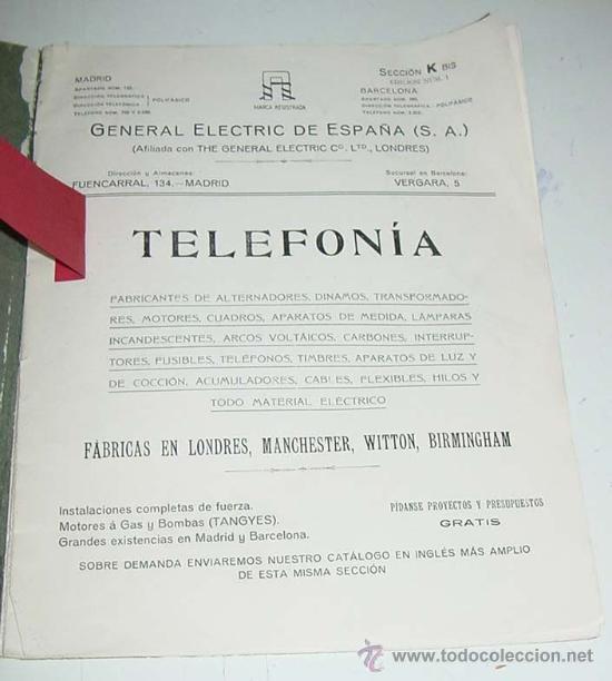 Teléfonos: ANTIGUO Y EXCEPCIONAL DE CATALOGO DE TELEFONIA, TELEFONOS . DE LA GENERAL ELECTRIC DE ESPAÑA, PRINCI - Foto 2 - 26656506