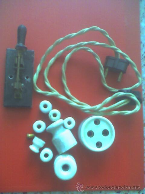 LOTE DE ARTICULOS DE ELECTRICIDAD DE CASA MUY ANTIGUA ALARGADERA MUY ANTIGUA BIEN CONSERVADO (Antigüedades - Técnicas - Herramientas Profesionales - Electricidad)