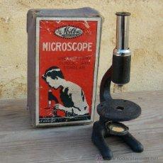 Antigüedades: MICROSCOPIO ESCOLAR ANTIGUO, MARCA THE MILBRO, CON SU CAJA ORIGINAL. Lote 27564142
