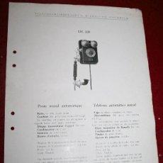 Teléfonos: ANTIGUA HOJA DE CATALOGO TELÉFONO ERICSSON DE 100 Y DE 110. Lote 15894009