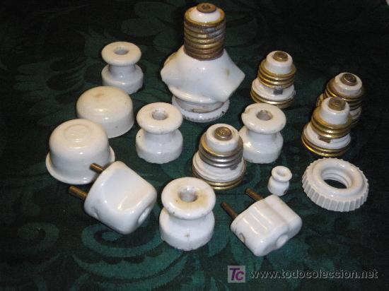 LOTE MECANISMOS ANTIGUOS DE ELECTRICIDAD DE PORCELANA (Antigüedades - Técnicas - Herramientas Profesionales - Electricidad)