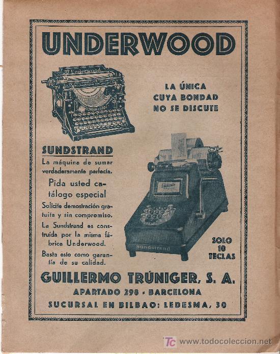 UNDERWOOD - HOJA PUBLICITARIA EXTRAIDA DEL ANUARIO FINANCIERO DE 1930 - SEMIRIGIDA - (Antigüedades - Técnicas - Máquinas de Escribir Antiguas - Underwood)