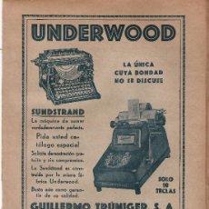 Antigüedades: UNDERWOOD - HOJA PUBLICITARIA EXTRAIDA DEL ANUARIO FINANCIERO DE 1930 - SEMIRIGIDA -. Lote 27165568
