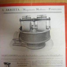 Antigüedades: CATALOGO PUBLICIDAD MAQUINARIA FABRICAS DE GALLETAS ARRIETA PAMPLONA 1920. Lote 16540412