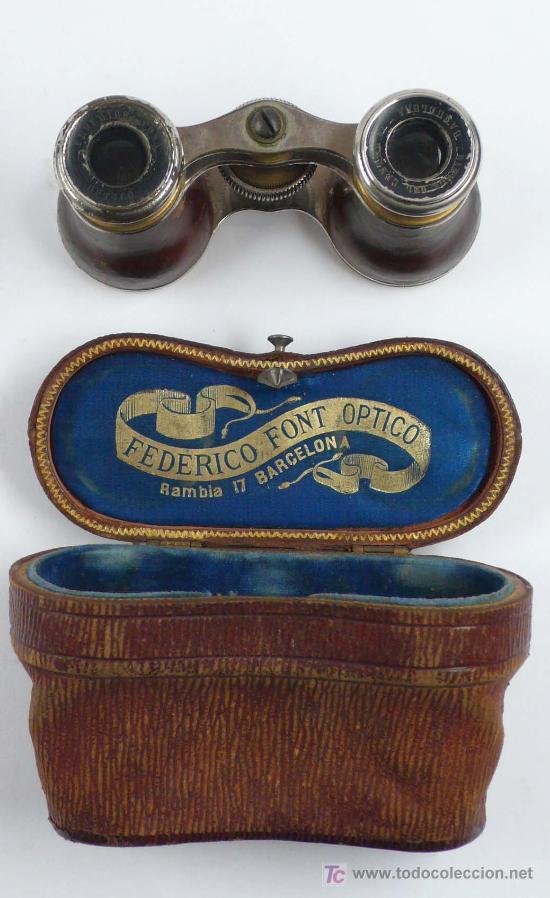 PRISMATICOS PARA TEATRO, 1890'S APROX. EN FUNDA ORIGINAL. 7 X 11,5 CM. (Antigüedades - Técnicas - Instrumentos Ópticos - Prismáticos Antiguos)